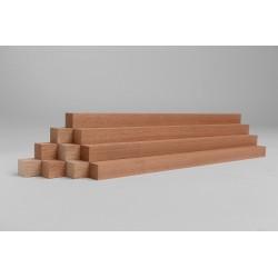 10er-Set Holzleiste - Mahagoni gehobelt - 25/25/500 mm